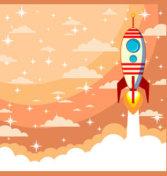 space rocket launch start up concept flat style vector image vector image