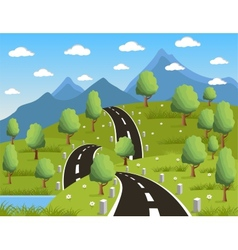 Spring or summer road to the mountain vector image vector image