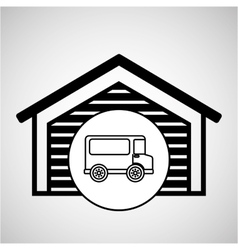 Storage building transport delivery truck vector