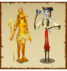 Two ancient symbols anubis figurine and pirate vector