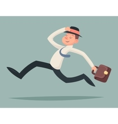 Vintage businessman running hurry race rush vector