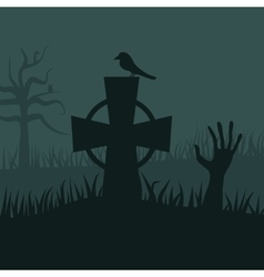 Zombies night background vector image