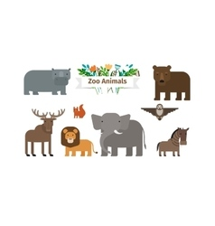 Zoo Animals Flat Icons Set vector image vector image