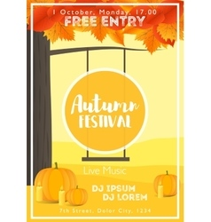 Fall Festival template Bright colourful autumn vector image