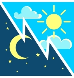 Day and night contrast concept with sun vector