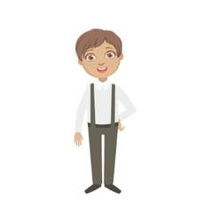 Boy in black pants with suspenders happy schoolkid vector