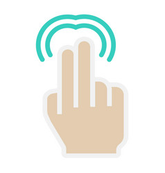 2 finger double tap flat icon touch and gesture vector image