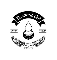best quality coconut oil with old coconut and vector image