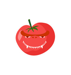 Angry tomato aggressive red vegetable dangerous vector