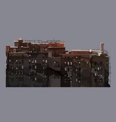 Cartoon old dilapidated multi-storey building vector