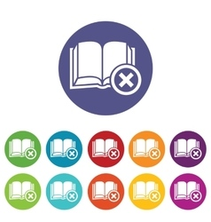 Remove book icon set vector