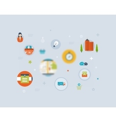 Set of flat style icons online marketing custom vector
