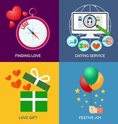 Set of flat design concept icons finding love vector
