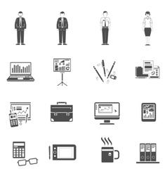 Office icons black set vector