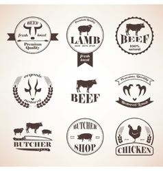 Butcher retro emblems and labels set design vector