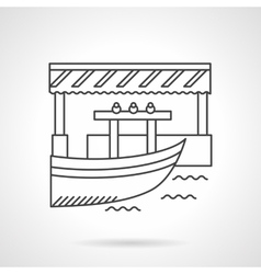 Floating market flat line icon vector