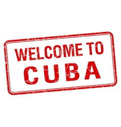 Welcome to cuba red grunge square stamp vector
