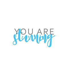 You are stunning calligraphic inscription handmade vector