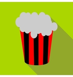 Popcorn in striped bucket icon flat style vector