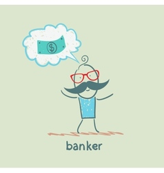 Banker thinks about money vector