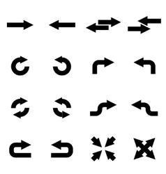black arrows icon set vector image vector image