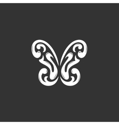 Butterfly logo on black background icon vector