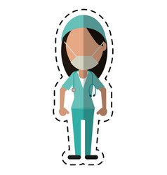 Cartoon surgeon woman with mask medical vector