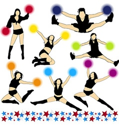 Cheerleaders Silhouettes Set vector image