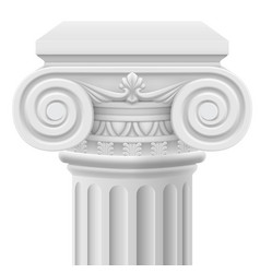 Classic ionic column on white background vector
