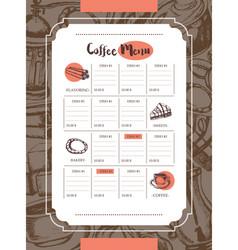 delicious coffee - color hand drawn composite vector image vector image