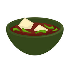 Delicious soup of oriental cuisine with cheese vector