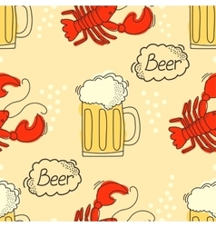 Doodle pattern with beer and crawfish vector