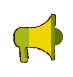 Green and yellow megaphone marketing online sketch vector