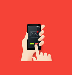 Hand holding smartphone with conceptual mobile vector
