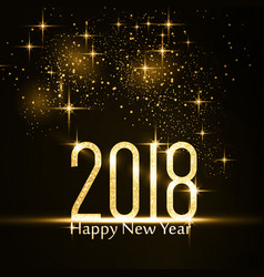 Happy new year 2018 background with gold glitter vector