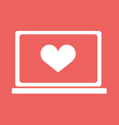 Laptop with heart icon in flat style vector