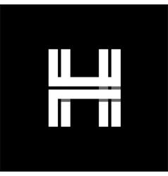 Letter H wide white stripes Logo monogram emblem vector image vector image