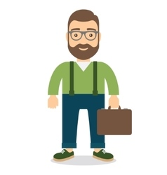Man with a briefcase in hand vector image vector image