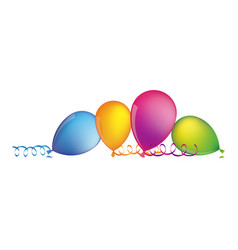 Multicolored balloons with serpentine on the floor vector