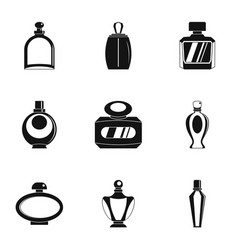 Perfume bottle product icon set simple style vector