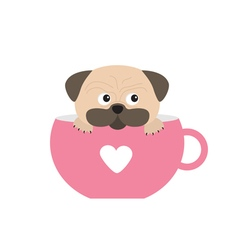 Pug dog mops paw sitting in pink cup with heart vector image