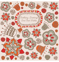 Retro Floral Birthday Card vector image vector image