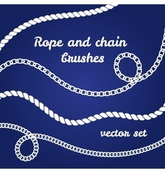 Rope and chain white brushes set vector