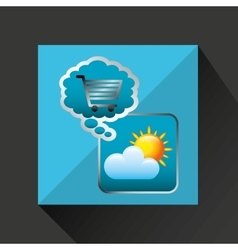 Shiny shopping cart weather online commerce vector