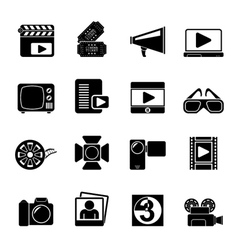 Silhouette Movie and cinema icons vector image vector image