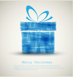 simple christmas card with a blue gift vector image vector image