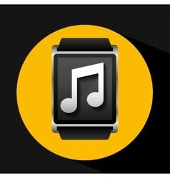 Smart watch concept music social media vector