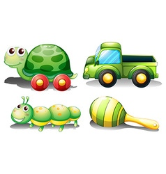 Toys set in green vector image