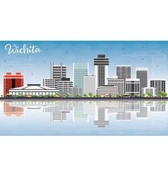 Wichita Skyline with Gray Buildings Blue Sky vector image vector image