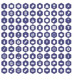 100 nutrition icons hexagon purple vector image vector image